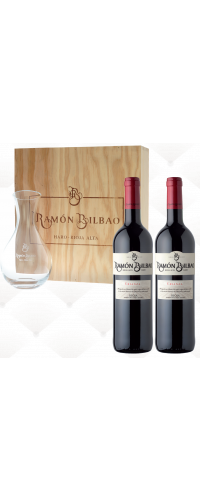 Ramon Bilbao Crianza 2 flessen en karaf in houten kist