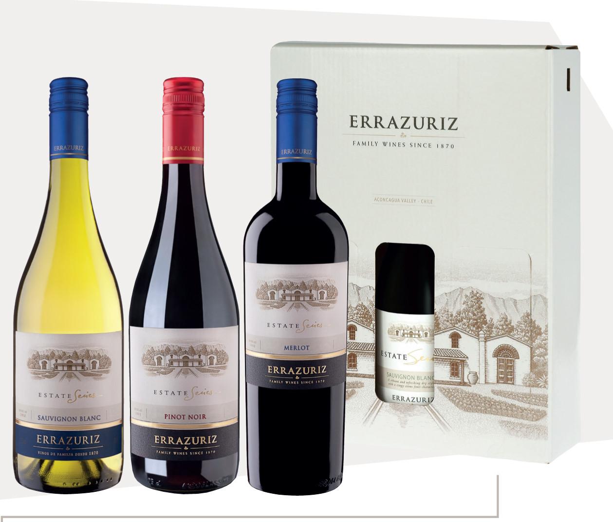 Errazuriz Estate Series in giftbox Sauvignon Blanc - Pinot Noir - Merlot